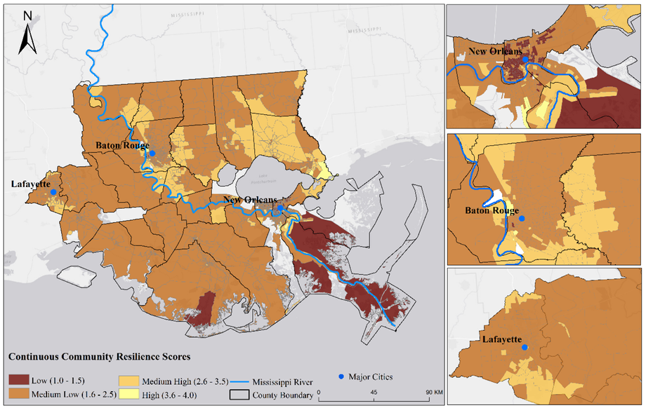 The continuous resilience scores at block group level in the lower Mississippi river basin