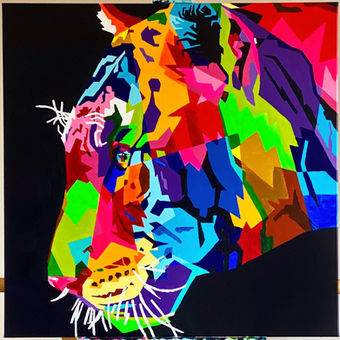 Colorful Tiger - 100 x 100 cm