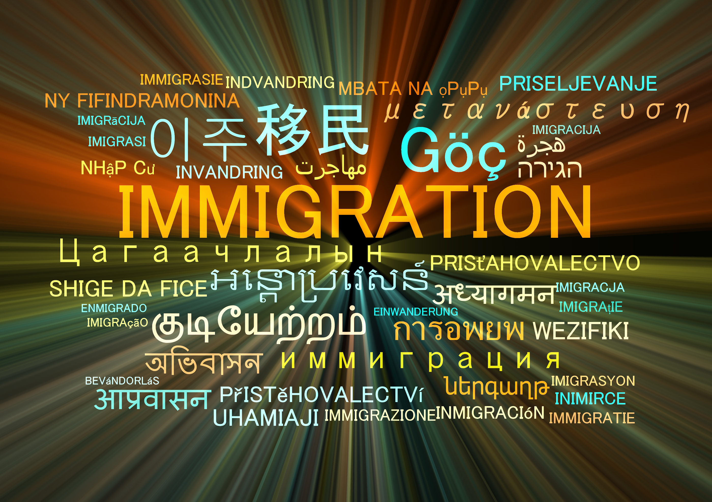Background concept wordcloud multilanguage international many language illustration of immigration g