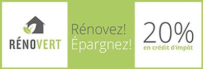 RénoVert 20% crédit retour d'impôt