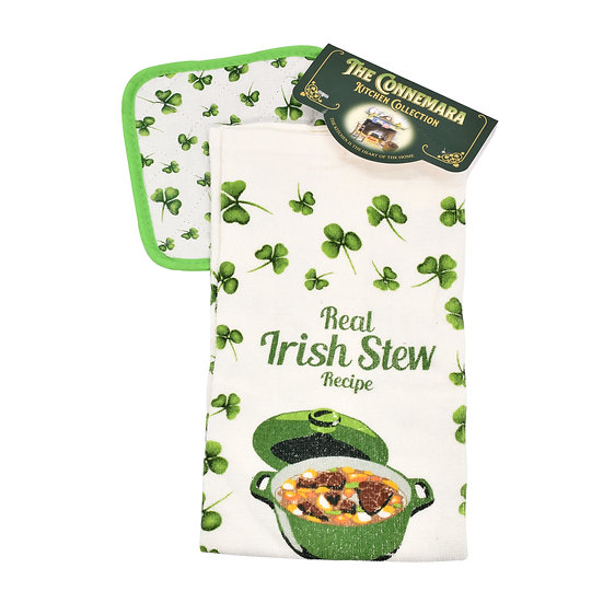 Connemara Kitchen Collection Irish Stew Recipe Tea Towel & Pot Holder Set