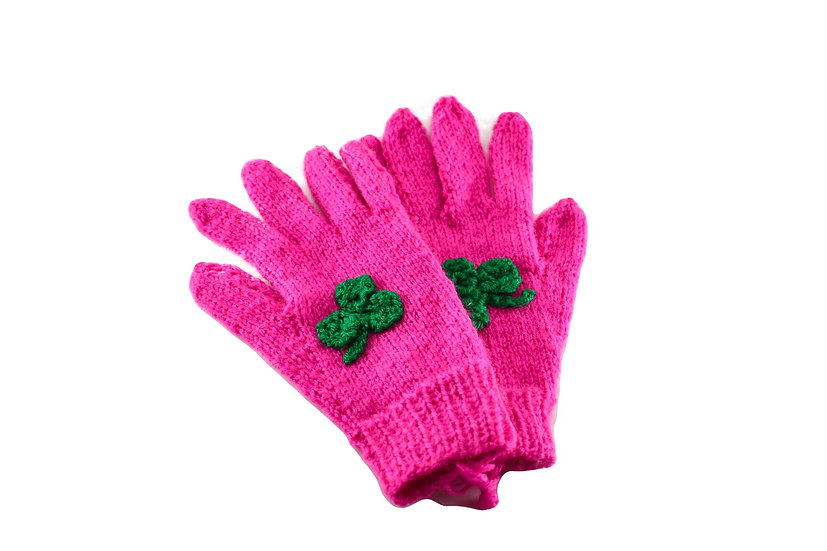 Clare's Crafts Hand-Knit Pink Ladies' Gloves with Green Shamrock