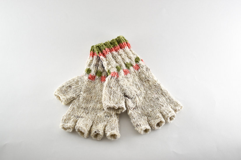 Back to Back Coral & Green Half Finger Gloves