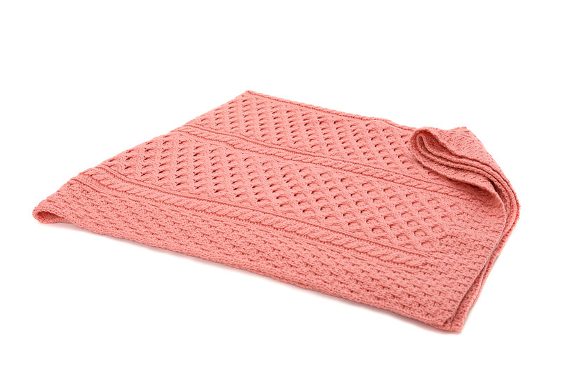 Aran Super Soft Pink Merino Throw