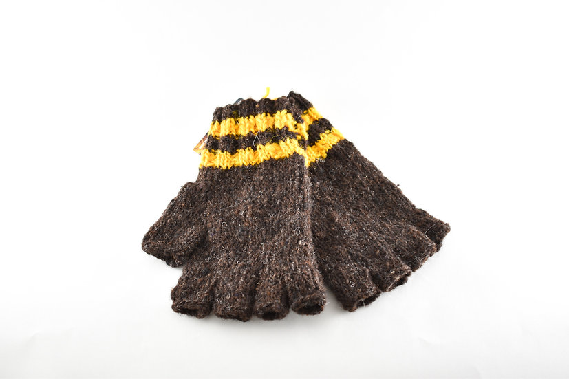Back to Back Brown & Yellow Striped Half Finger Gloves