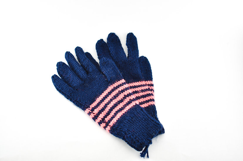 Clare's Crafts Hand-Knit Navy Ladies' Gloves