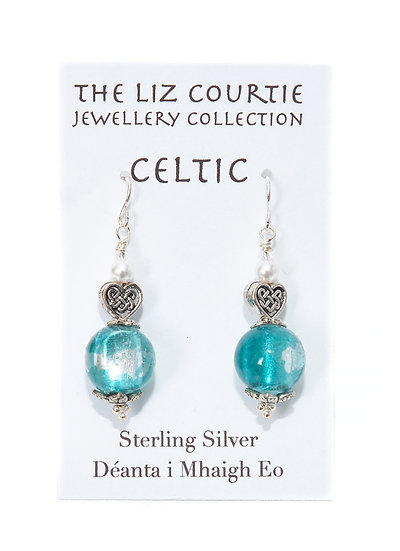 Liz Courtie Handmade Turquoise & Pearl Celtic Earrings