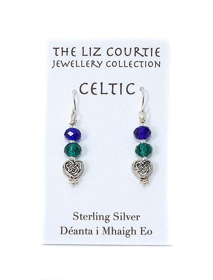 Liz Courtie Handmade Royal Blue & Emerald Green Crystal Earrings