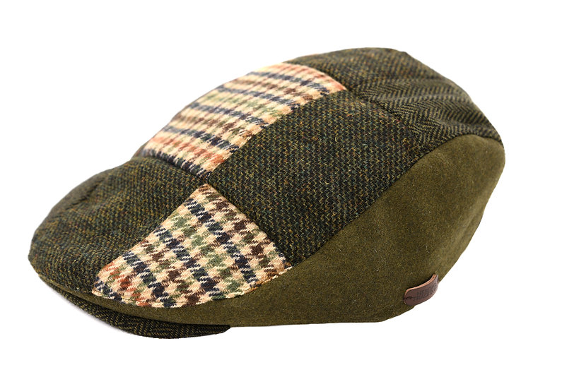 Heritage Traditions Men's Tweed Patchwork Flat Cap – Multi Green Brown