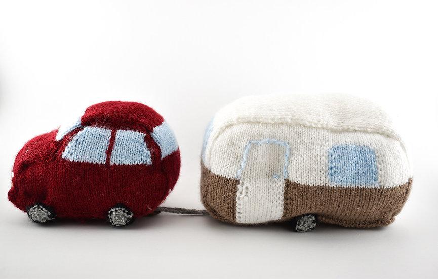 Clare's Crafts Hand-Knit Car & Caravan
