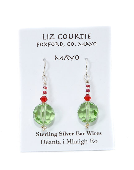 Liz Courtie Handmade Red & Green of Mayo Earrings 001