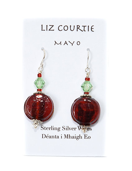 Liz Courtie Handmade Red & Green of Mayo Earrings 003