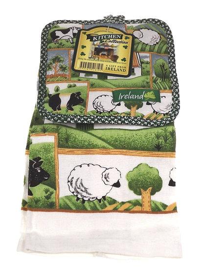 Connemara Kitchen Collection Country Scene Tea Towel  & Pot Holder Set