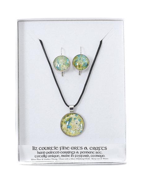 Liz Courtie Handmade Hand Painted Pendant & Earring Set – Yellow/Green
