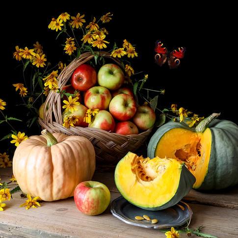 Pumpkins and Apples, photography by Yana Slutskaya