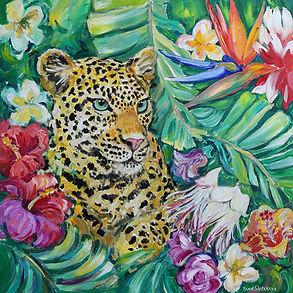 Cat of the Jungle 24x24 acrylic on canvas by Yana Slutskaya
