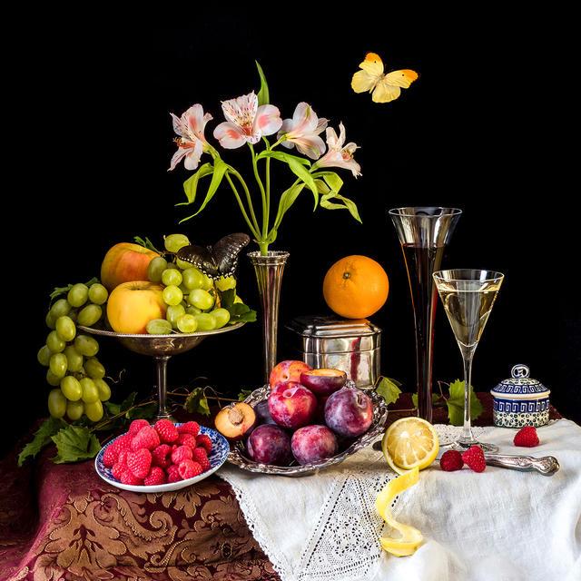 Plums, Wine and Raspberies