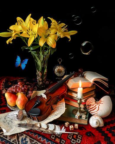 Violin and Lilies, photography by Yana Slutskaya