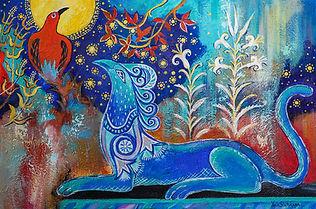The Griffin and the Bird 24x36 acrylic on canvas by Yana Slutskaya