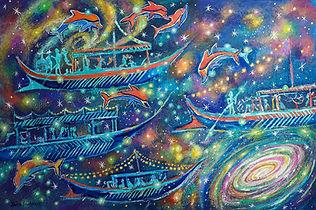 Time Travels or Lost Civilizations 24x36 acrylic on canvas by Yana Slutskaya