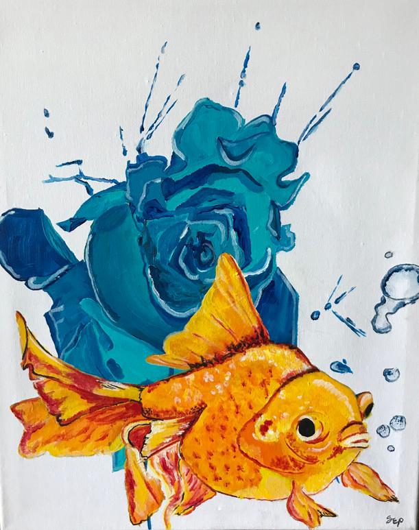 """Water rose splash goldfish Acrylic on canvas  16x20"""""""