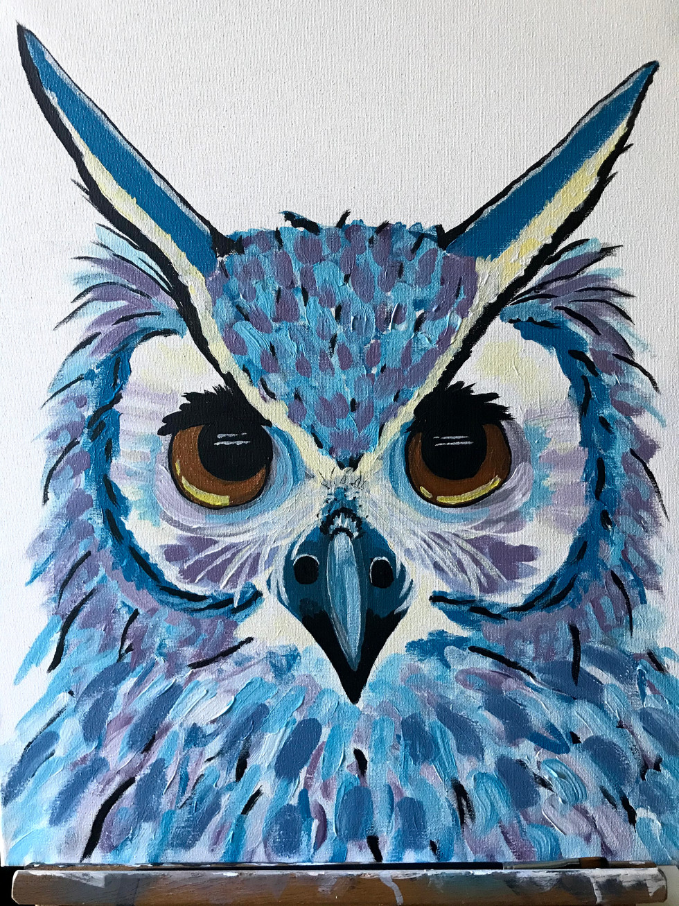 """Blue Owl Acrylic on canvas 18x24"""""""