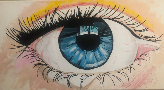 "Blue eye painting Acrylic on canvas 12x24"""