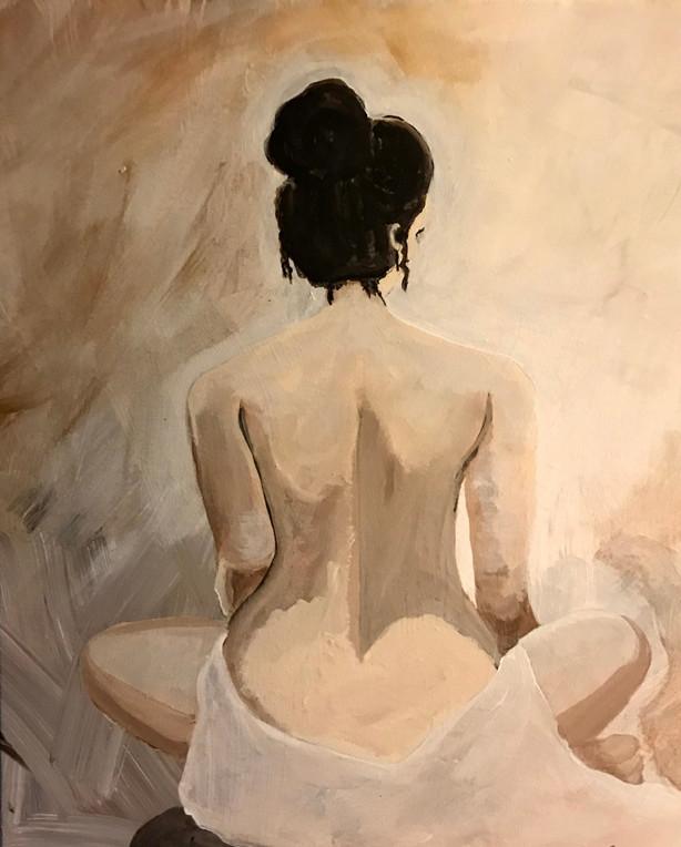 "Nude woman facing away Acrylic paint on canvas 16x20"""