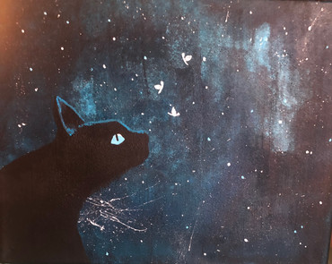 Black cat in the starry night Acrylic on canvas 11x14