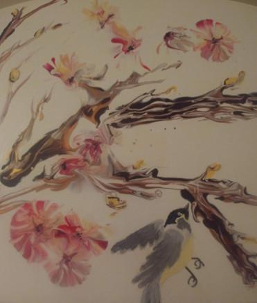 "Cherry tree and bird acrylic on canvas 10x10"""