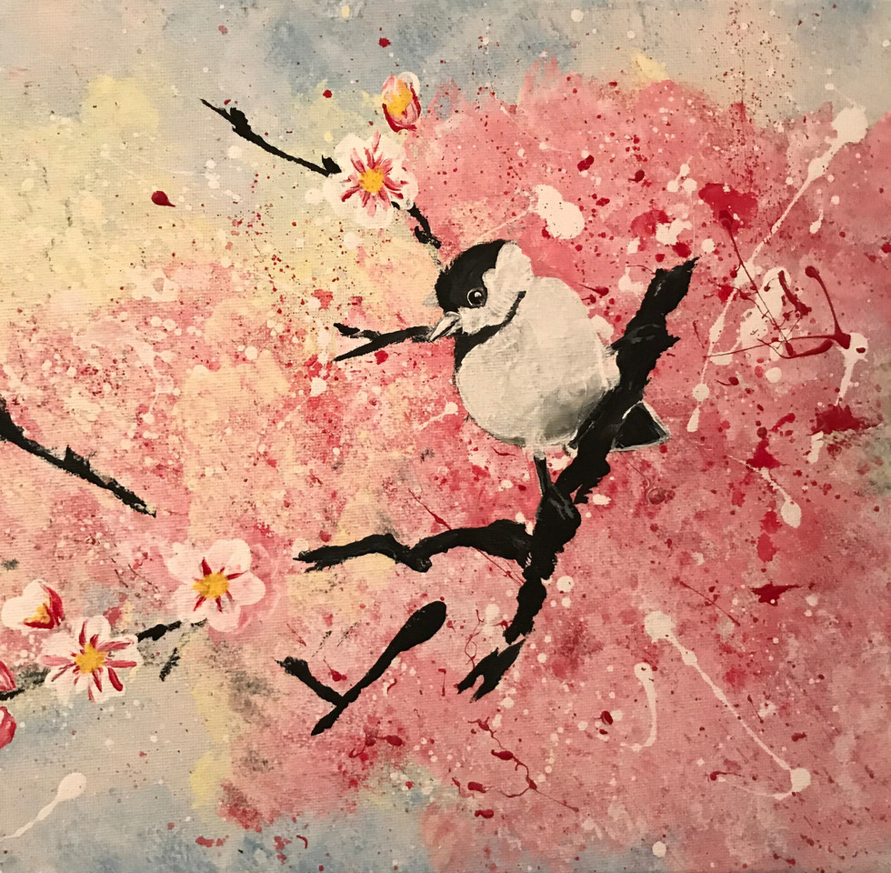 "Bird in a cherry blossom tree Acrylic on canvas 11x14"""