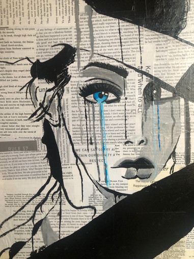 Woman with crying blue eye  Acrylic on paper/ canvas 18x2