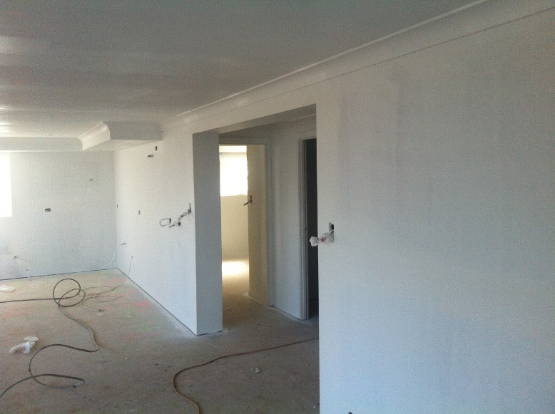 Walls and ceiling undercoated
