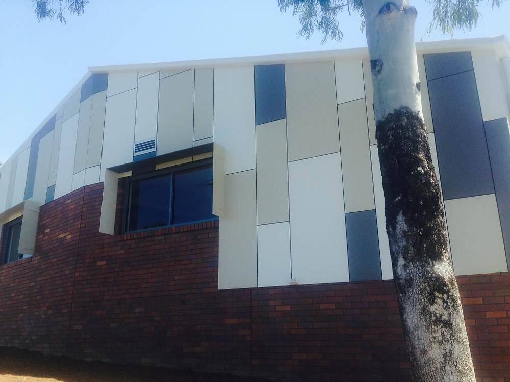 Matrix panels painted colourbond colours Wallaby, surf mist & evening haze