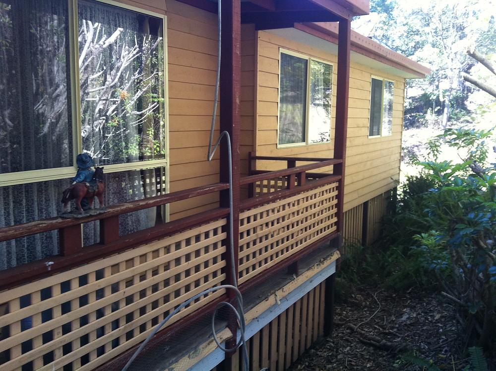 before painting ballustrade, weatherboards house Mount Tamborine