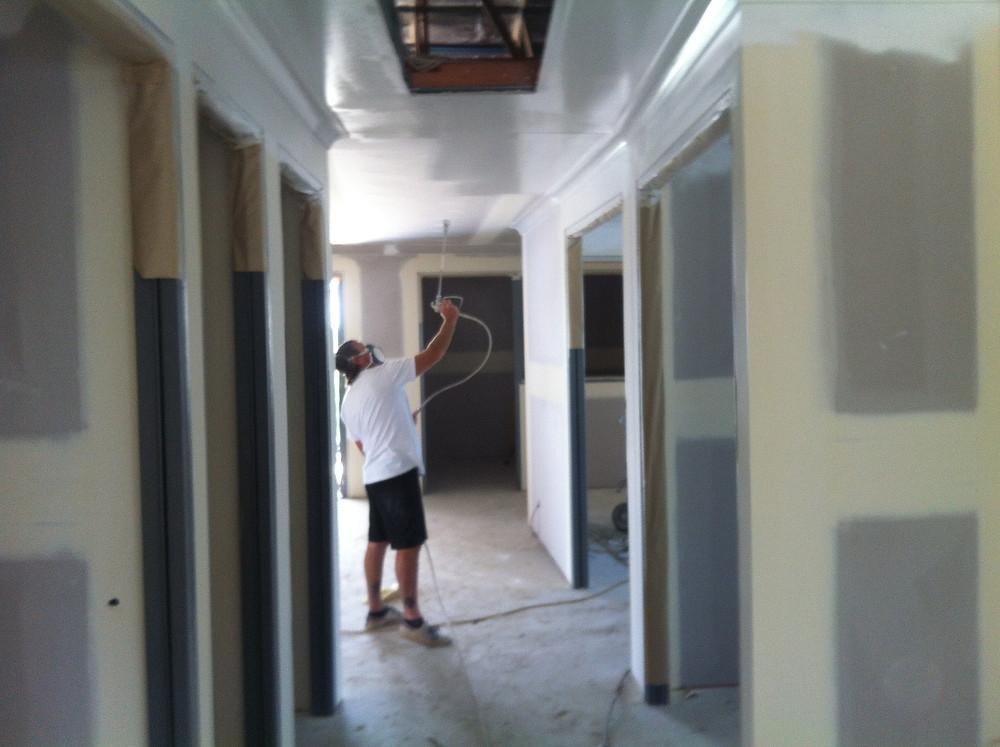 Spraying ceilings