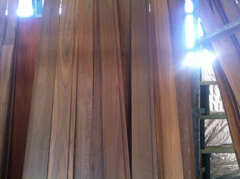Spotted gum cladding after 1 coat of Cutek CD50