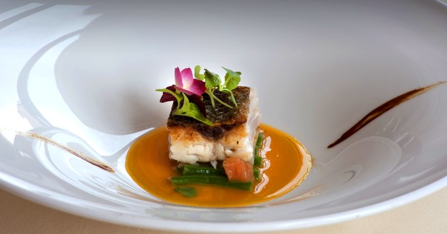 Sea bass butternut reduction