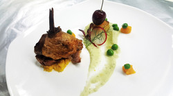 sous-vide duck on chayote cream