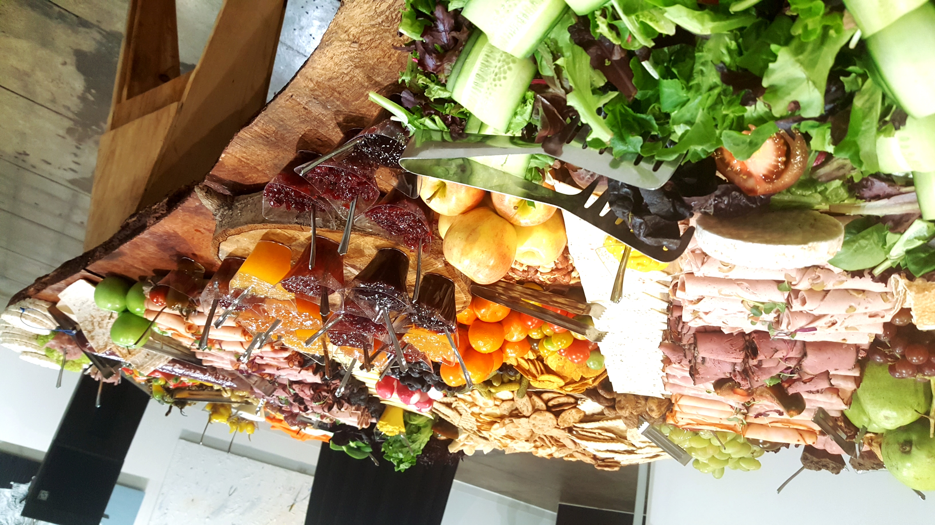 Giant wood slab charcuterie display
