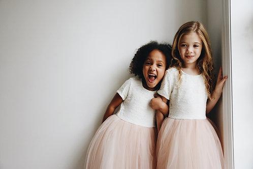 Lace short sleeve blush tulle dress