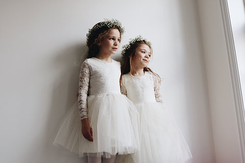 Long sleeve lace sparkly tullle dress
