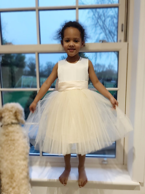 Satin heart back tutu bow sash dress