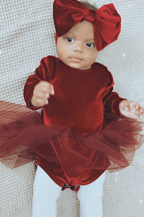 Velvet Long Sleeve Leotard Tutu Dress