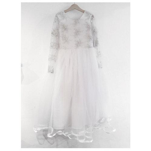 Long sleeve embellished tulle dress