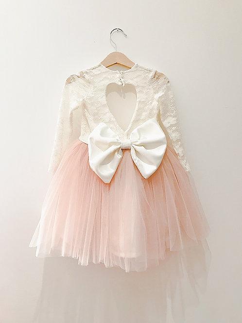 Long sleeve lace heart back dress