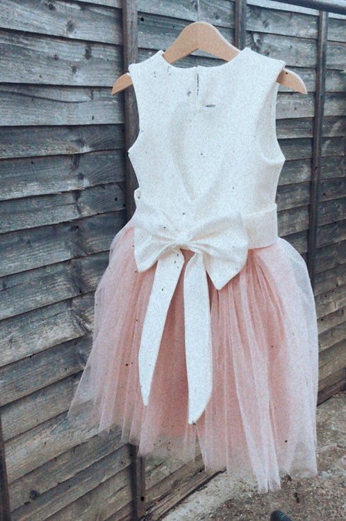 Heart back colourful tulle dress & satin bow sash