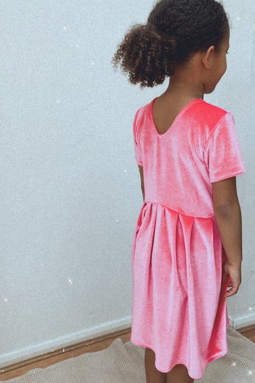 Bright pink velvet dress