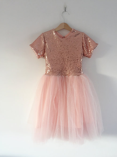 Peach sequin sparkle tulle dress