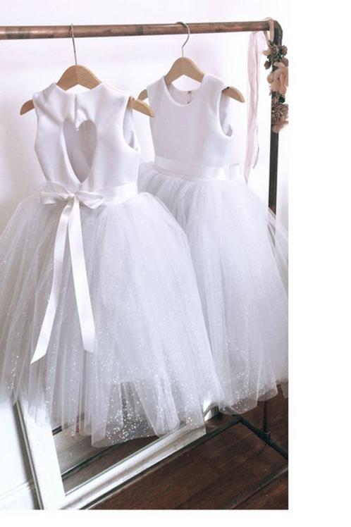 Ankle length sparkly tulle heart back flower girl tutu dress
